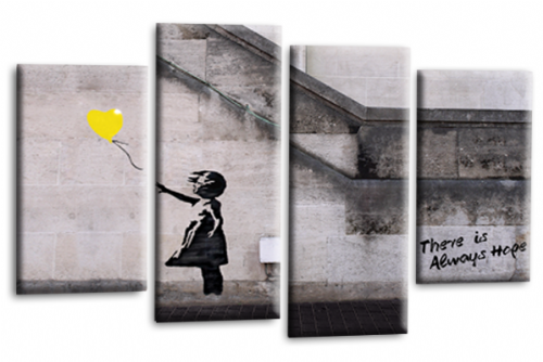 Banksy Canvas Wall Art Picture Print Yellow Balloon Girl Hope